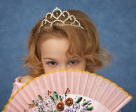 Portrait of young girl with Oriental fan Royalty Free Stock Photos