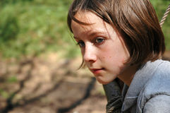 Portrait of young girl outside. Outdoor portrait of young girl outside Stock Photo