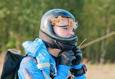 Portrait of the young girl-parachutist Stock Photos