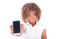 Portrait of young girl with on phone Stock Image