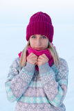 Portrait of young girl in pink hat and scarf in the winter fores. T Royalty Free Stock Image