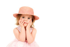 Portrait of young girl in pink princess dress Stock Image