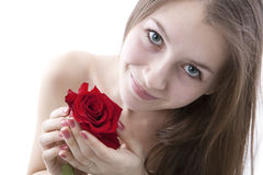 Portrait of a young girl with a rose Royalty Free Stock Photos