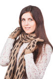 Portrait of a young girl in scarf and mittens Stock Photos