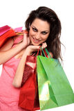 Portrait of young girl with shopping bags. Portrait of smiling girl with shopping bags Stock Image