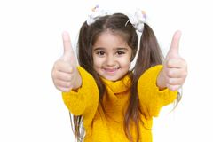 Portrait of young girl show thumbs up Royalty Free Stock Photography