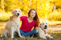 Portrait of Young girl sitting on the ground with her dog retriever in autumn scene. A beautiful woman and her dogs (Labrador retriever) posing in autumn park royalty free stock photos