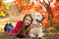 Portrait of Young girl sitting on the ground with her dog retriever in autumn scene. A beautiful woman and her dogs (Labrador retriever) posing in autumn park royalty free stock photography