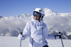Portrait of young girl skier Stock Photos