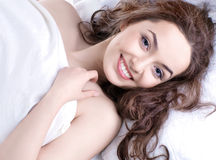 Portrait of a young girl sleeping on a pillow Royalty Free Stock Images