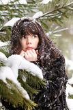 Portrait of a young girl with the snow in her hair Royalty Free Stock Images