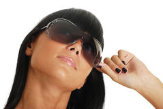 Portrait of the young girl in solar glasses Stock Photos