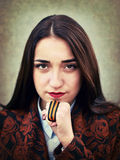 Portrait of young girl with St. George's ribbon in hand Royalty Free Stock Image