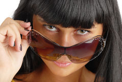 Portrait of the young girl in sunglasses Stock Images