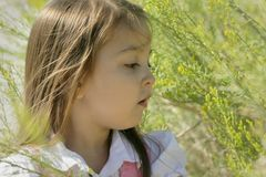 Portrait of Young Girl Surrounded by Foliage Royalty Free Stock Images