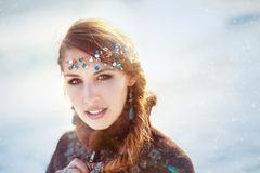 Portrait of the young girl with a tiara Royalty Free Stock Photography