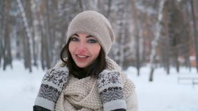 Portrait of a young girl walking in the winter forest who is looking at the camera and smiling stock video footage