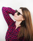 Portrait of a young  girl wearing trendy glasses Royalty Free Stock Photography