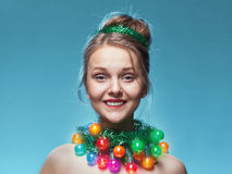 Portrait of the young girl who have put on instead Royalty Free Stock Photos