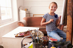 Portrait Of Young Girl Working On Painting In Studio Royalty Free Stock Photo