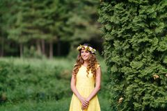 Portrait young girl in yellow dress with Flower wreath for head. Walking in park, Warm summer day. stock images