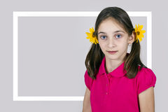 Portrait a young girl with a yellow  flowers Royalty Free Stock Image