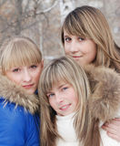 Portrait of the young girls. Portrait of the young girl with a fair hair Stock Photography