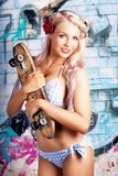 Portrait Of A Young Grunge Woman On Graffiti Wall Royalty Free Stock Photos