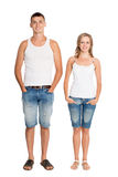 Portrait of young guy and girl in breeches Stock Photos