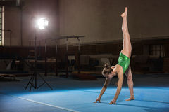 Portrait of young gymnasts competing in the stadium Royalty Free Stock Photography