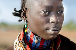 Portrait of young hamer woman, Ethiopia, Omo Valley Stock Photo