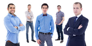 Portrait of young handsome business men isolated on white Royalty Free Stock Photos