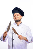 Portrait of young handsome cook Stock Photography