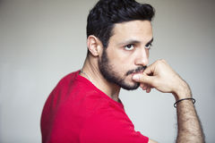 Portrait of young handsome dark-haired man Royalty Free Stock Photography