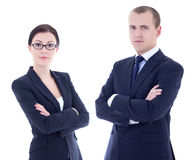 Portrait of young handsome man and beautiful woman in business s Royalty Free Stock Image
