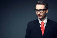 Portrait of young handsome man (businessman) in black suit Royalty Free Stock Image