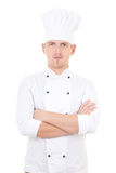 Portrait of young handsome man chef isolated over white Royalty Free Stock Photo