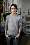 Portrait young handsome man in glasses Stock Photos