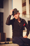 Portrait of a young handsome man in hat Royalty Free Stock Photo