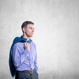 Portrait of a young handsome man looking ahead Stock Photos
