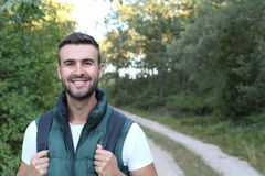 Portrait Of Young Handsome Man Smiling Outdoor.  stock image