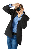 Portrait of young and handsome professional photographer in busi Stock Image