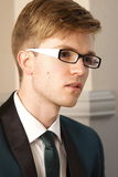Portrait young handsome stylish man indoor royalty free stock photos