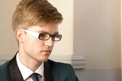Portrait young handsome stylish man indoor Royalty Free Stock Images