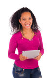 Portrait Of Young Happy African Woman Using Digital Tablet Royalty Free Stock Photos