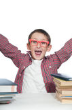 Portrait of a young happy boy in red spectacles . Royalty Free Stock Image