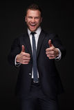 Portrait of young happy businessman Stock Photo