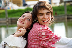 Portrait of young, happy couple royalty free stock photography
