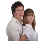 Portrait of a young happy couple Stock Photos