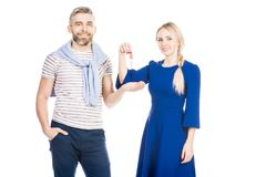 Couple with key royalty free stock images